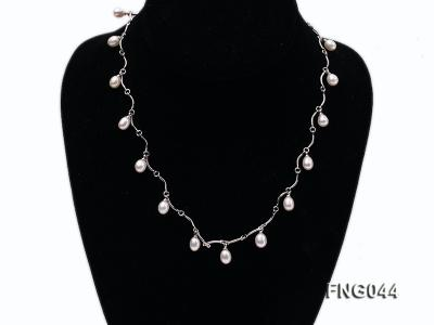 Gold-plated Metal Chain Necklace Dotted with White Freshwater Pearl FNG044 Image 1
