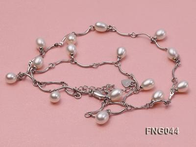Gold-plated Metal Chain Necklace Dotted with White Freshwater Pearl FNG044 Image 3