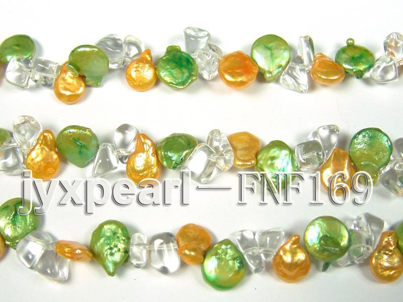 Three-Strand Golden and Green Coin Pearl and Crystal Beads Necklace big Image 6