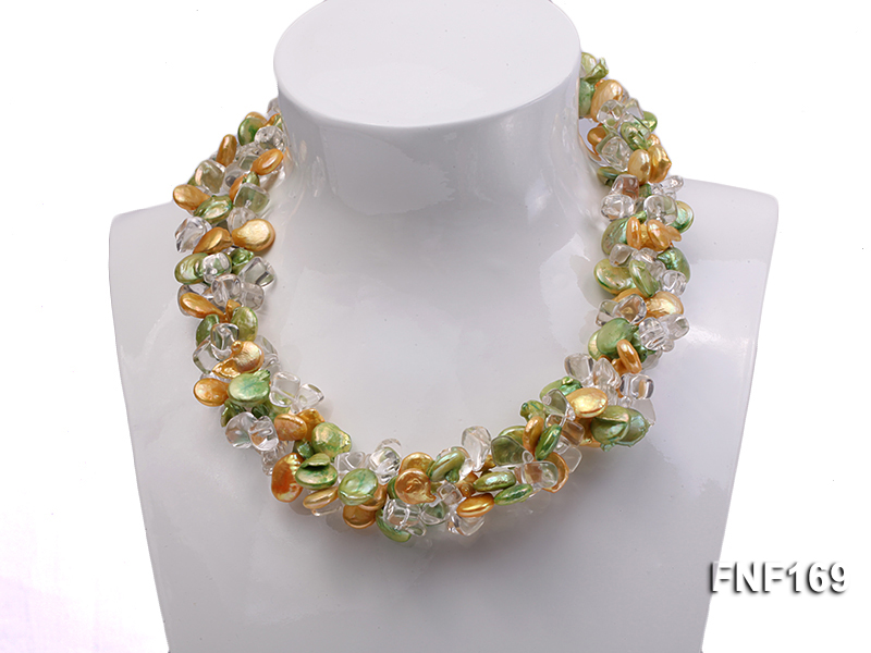 Three-Strand Golden and Green Coin Pearl and Crystal Beads Necklace big Image 1