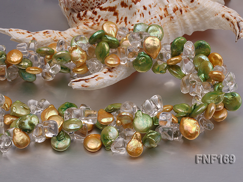Three-Strand Golden and Green Coin Pearl and Crystal Beads Necklace big Image 2
