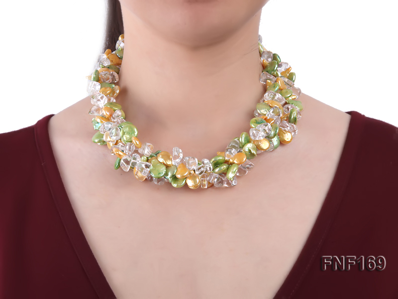Three-Strand Golden and Green Coin Pearl and Crystal Beads Necklace big Image 3