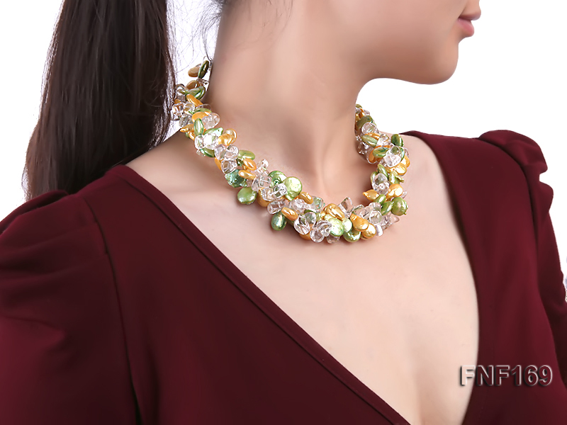 Three-Strand Golden and Green Coin Pearl and Crystal Beads Necklace big Image 4