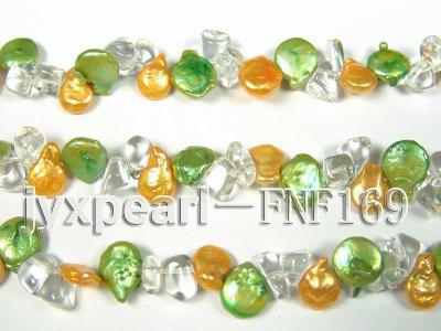 Three-Strand Golden and Green Coin Pearl and Crystal Beads Necklace FNF169 Image 6