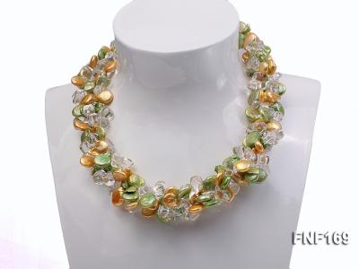 Three-Strand Golden and Green Coin Pearl and Crystal Beads Necklace FNF169 Image 1