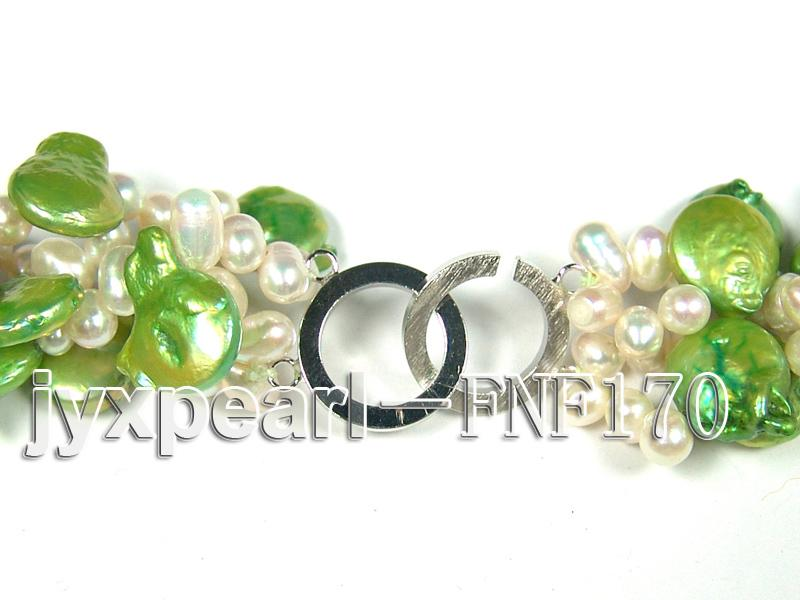 Four-strand 5-6mm White Freshwater Pearl and Green Button Pearl Necklace big Image 5