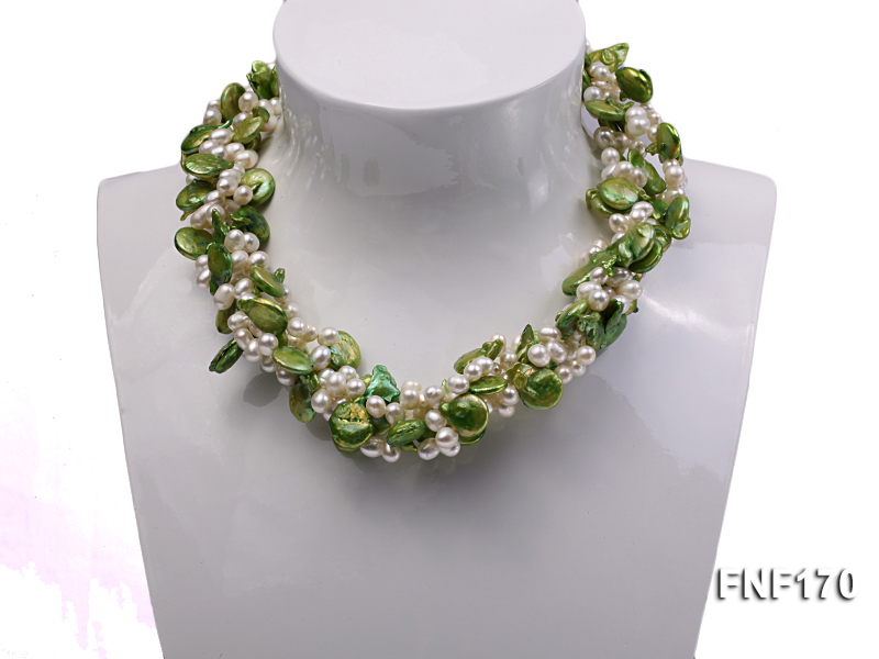 Four-strand 5-6mm White Freshwater Pearl and Green Button Pearl Necklace big Image 1