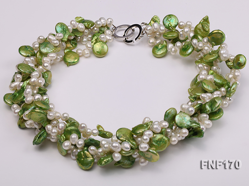 Four-strand 5-6mm White Freshwater Pearl and Green Button Pearl Necklace big Image 2