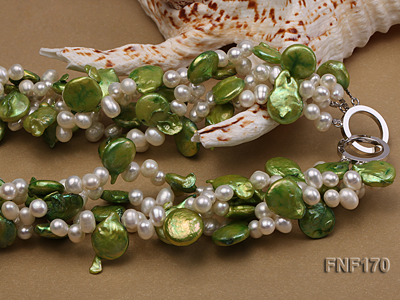Four-strand 5-6mm White Freshwater Pearl and Green Button Pearl Necklace big Image 3