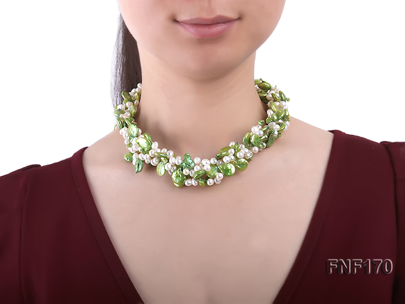 Four-strand 5-6mm White Freshwater Pearl and Green Button Pearl Necklace big Image 7