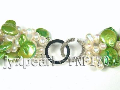 Four-strand 5-6mm White Freshwater Pearl and Green Button Pearl Necklace FNF170 Image 5