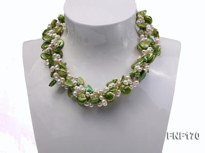 Four-strand 5-6mm White Freshwater Pearl and Green Button Pearl Necklace FNF170 Image 1