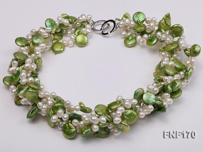 Four-strand 5-6mm White Freshwater Pearl and Green Button Pearl Necklace FNF170 Image 2
