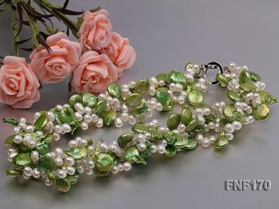 Four-strand 5-6mm White Freshwater Pearl and Green Button Pearl Necklace FNF170 Image 4