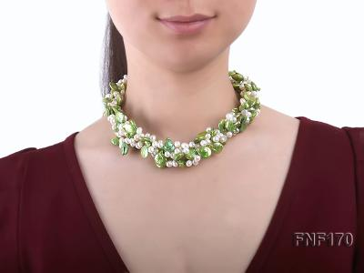 Four-strand 5-6mm White Freshwater Pearl and Green Button Pearl Necklace FNF170 Image 7