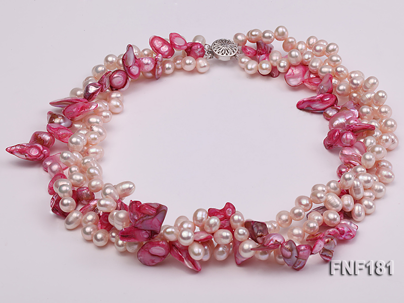 Three-strand 7x8 White Freshwater Pearl and Pink Baroque Pearl Necklace big Image 1