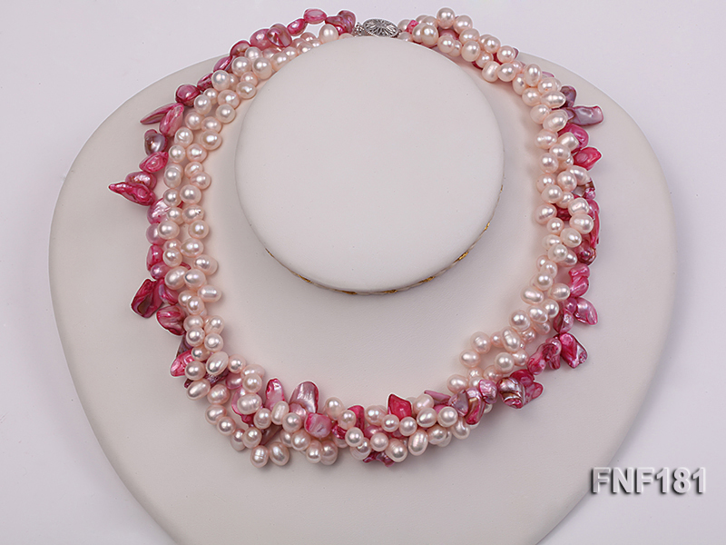 Three-strand 7x8 White Freshwater Pearl and Pink Baroque Pearl Necklace big Image 3