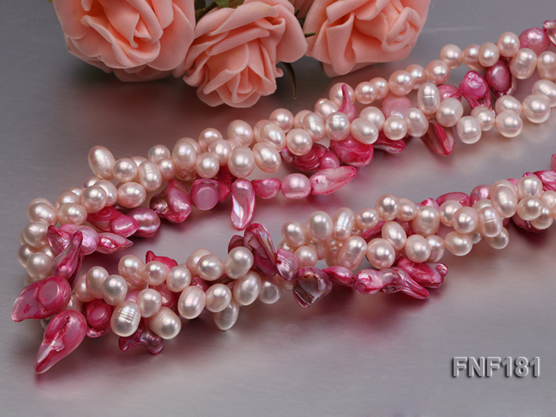 Three-strand 7x8 White Freshwater Pearl and Pink Baroque Pearl Necklace big Image 5