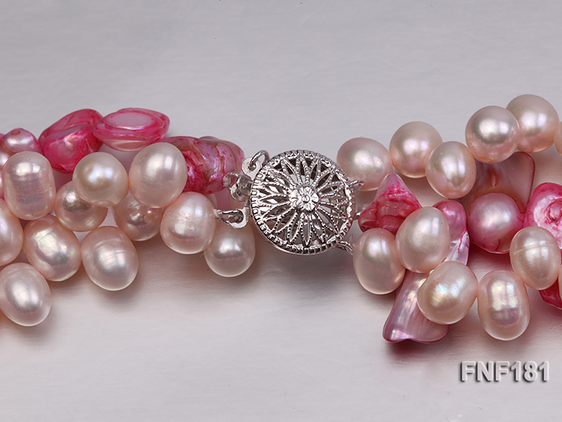 Three-strand 7x8 White Freshwater Pearl and Pink Baroque Pearl Necklace big Image 6