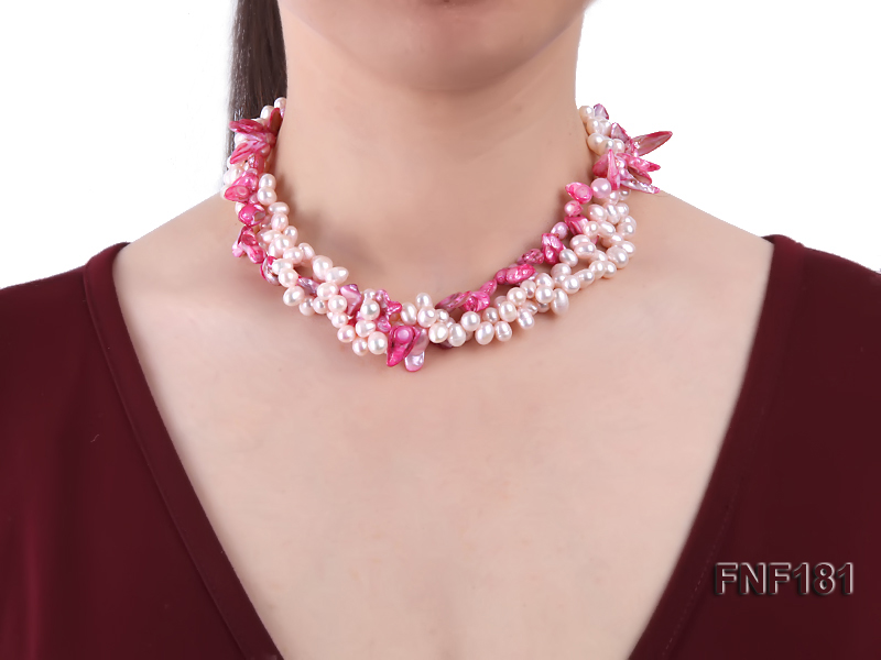 Three-strand 7x8 White Freshwater Pearl and Pink Baroque Pearl Necklace big Image 2