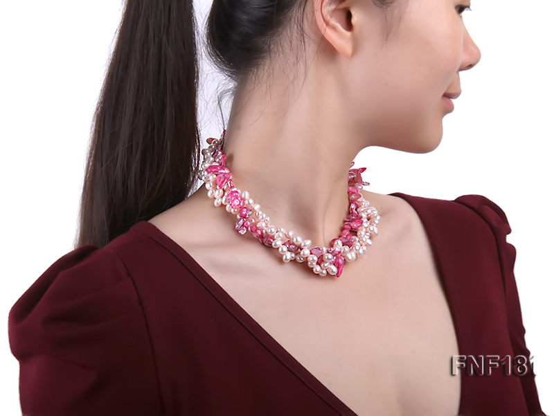 Three-strand 7x8 White Freshwater Pearl and Pink Baroque Pearl Necklace big Image 7