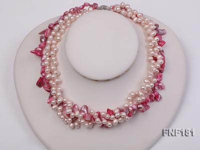 Three-strand 7x8 White Freshwater Pearl and Pink Baroque Pearl Necklace FNF181 Image 3