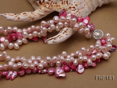 Three-strand 7x8 White Freshwater Pearl and Pink Baroque Pearl Necklace FNF181 Image 4
