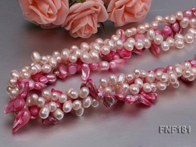 Three-strand 7x8 White Freshwater Pearl and Pink Baroque Pearl Necklace FNF181 Image 5