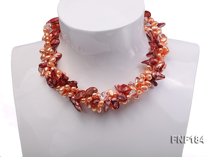 Three-strand 7x8 Orange Freshwater Pearl and Dark-red Baroque Pearl Necklace big Image 1