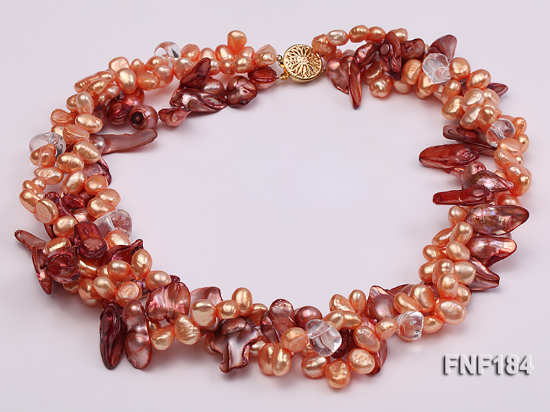 Three-strand 7x8 Orange Freshwater Pearl and Dark-red Baroque Pearl Necklace big Image 3