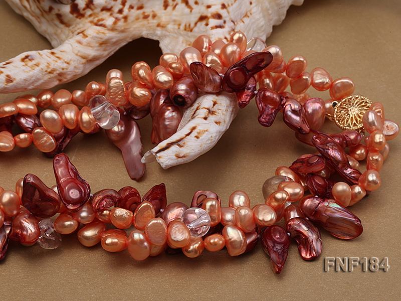 Three-strand 7x8 Orange Freshwater Pearl and Dark-red Baroque Pearl Necklace big Image 4
