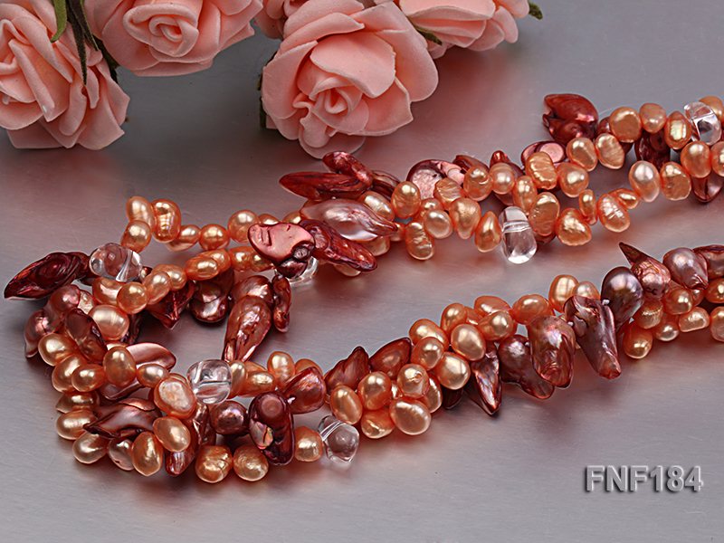 Three-strand 7x8 Orange Freshwater Pearl and Dark-red Baroque Pearl Necklace big Image 5