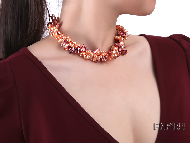 Three-strand 7x8 Orange Freshwater Pearl and Dark-red Baroque Pearl Necklace big Image 6