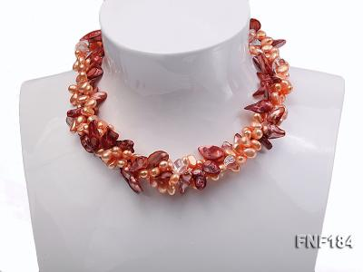 Three-strand 7x8 Orange Freshwater Pearl and Dark-red Baroque Pearl Necklace FNF184 Image 1
