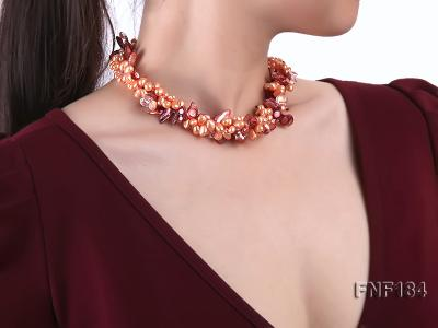 Three-strand 7x8 Orange Freshwater Pearl and Dark-red Baroque Pearl Necklace FNF184 Image 6