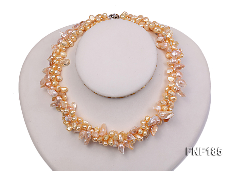 Three-strand 7x8mm Yellow Freshwater Pearl and Pink Tooth-shaped Pearl Necklace big Image 1