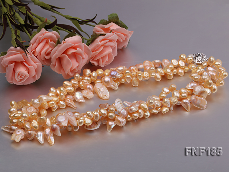 Three-strand 7x8mm Yellow Freshwater Pearl and Pink Tooth-shaped Pearl Necklace big Image 3
