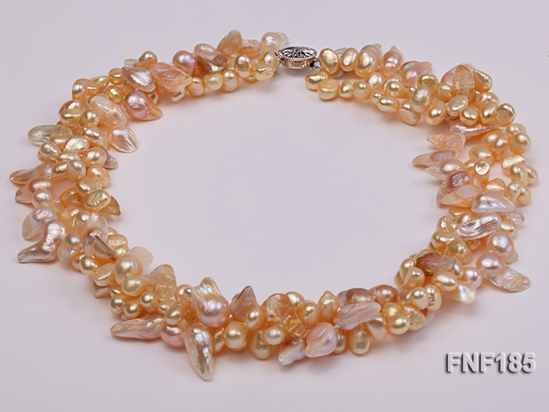 Three-strand 7x8mm Yellow Freshwater Pearl and Pink Tooth-shaped Pearl Necklace big Image 4