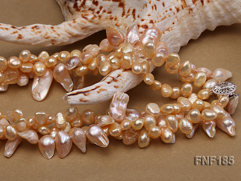Three-strand 7x8mm Yellow Freshwater Pearl and Pink Tooth-shaped Pearl Necklace big Image 5