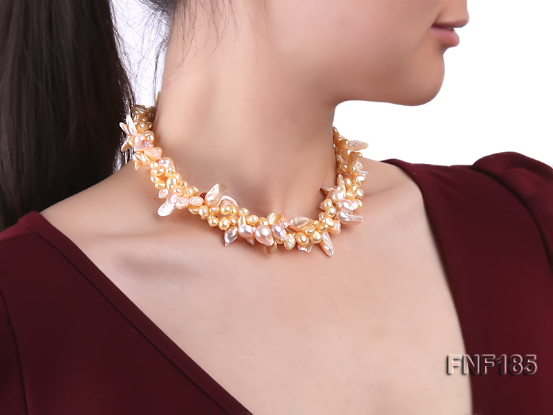 Three-strand 7x8mm Yellow Freshwater Pearl and Pink Tooth-shaped Pearl Necklace big Image 7