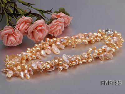 Three-strand 7x8mm Yellow Freshwater Pearl and Pink Tooth-shaped Pearl Necklace FNF185 Image 3