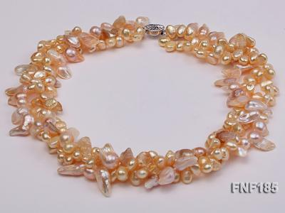 Three-strand 7x8mm Yellow Freshwater Pearl and Pink Tooth-shaped Pearl Necklace FNF185 Image 4