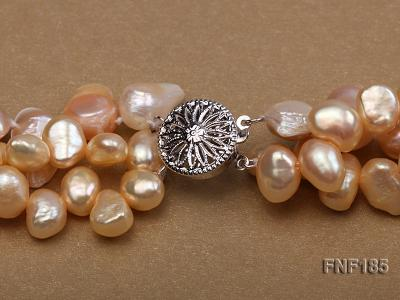 Three-strand 7x8mm Yellow Freshwater Pearl and Pink Tooth-shaped Pearl Necklace FNF185 Image 6