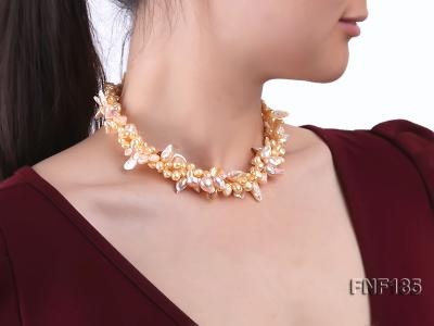 Three-strand 7x8mm Yellow Freshwater Pearl and Pink Tooth-shaped Pearl Necklace FNF185 Image 7