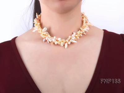 Three-strand 7x8mm Yellow Freshwater Pearl and Pink Tooth-shaped Pearl Necklace FNF185 Image 2