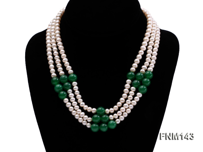 3 strand 6-7mm white freshwater pearl and jade freshwater pearl necklace big Image 1