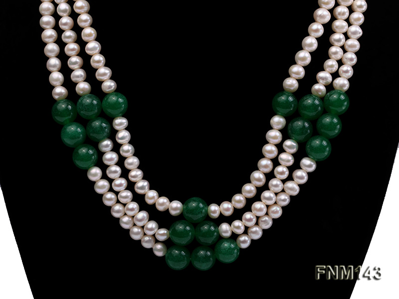 3 strand 6-7mm white freshwater pearl and jade freshwater pearl necklace big Image 2