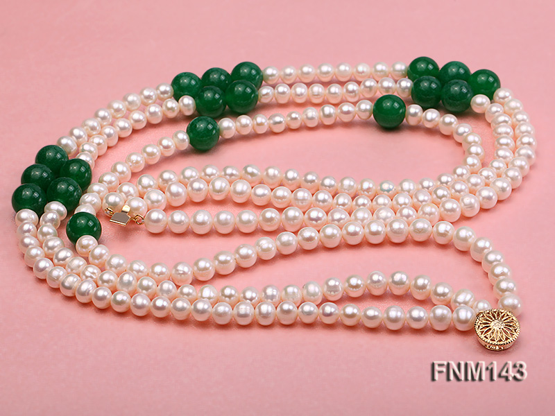 3 strand 6-7mm white freshwater pearl and jade freshwater pearl necklace big Image 3