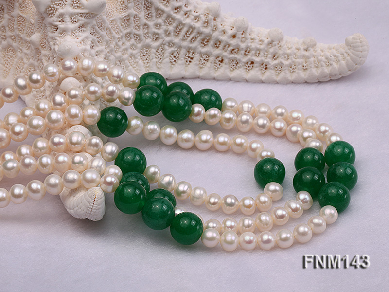 3 strand 6-7mm white freshwater pearl and jade freshwater pearl necklace big Image 4