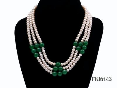 3 strand 6-7mm white freshwater pearl and jade freshwater pearl necklace FNM143 Image 1